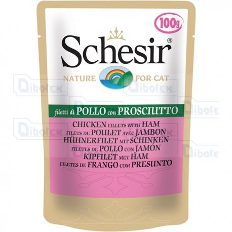 Schesir - Cat Adult Filetti di Pollo con Prosciutto Jelly Gr.100