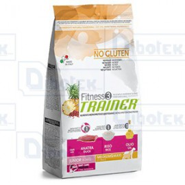 Trainer (Nova Foods) - Fitness 3 No Gluten Junior Medium & Maxi con Anatra, Riso e Olio - 1 Sacco 3 kg