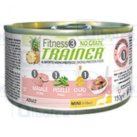 Trainer (Nova Foods) - Fitness 3 No Grain Adult Mini con Maiale, Piselli e Olio - 1 Lattina 150 gr
