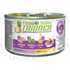 Trainer (Nova Foods) - Fitness 3 No Grain Maturity Mini con Maiale, Piselli e Olio - 1 Lattina 150 gr