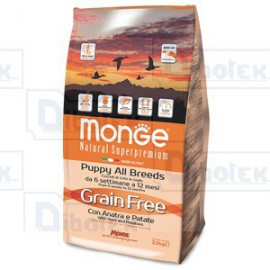 Monge - Natural Superpremium Grain Free con Anatra e Patate - All Breeds Puppy - 1 Sacco 2,500 kg