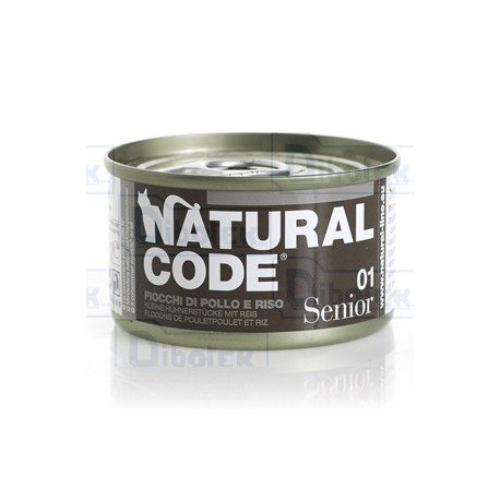 Natural Code - 01 Senior Fiocchi di Pollo - 1 Lattina 85 gr